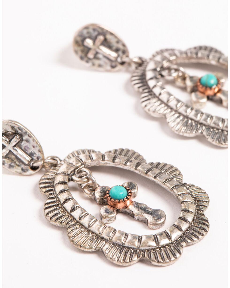 Shyanne Women's Cross Hoop Earrings, Silver, hi-res