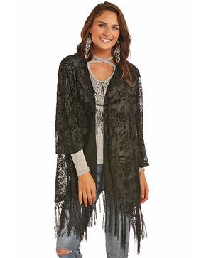 Rock & Roll Cowgirl Women's Floral Burnout Kimono , Black, hi-res