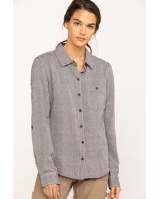 Dovetail Women's Solid Givens Long Sleeve Work Shirt, Dark Grey, hi-res