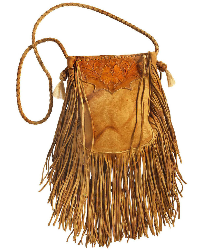 Kobler Leather Tan Hand-Tooled Pouch Bag , , hi-res