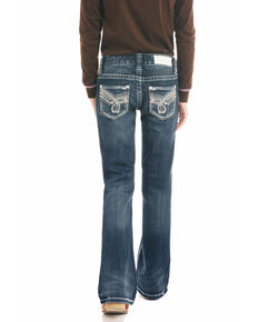 Rock & Roll Cowgirl Girls' Dark Wash Bootcut Jeans, Blue, hi-res