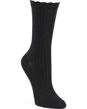 Shyanne® Women's Scallop Crew Socks, Black, hi-res