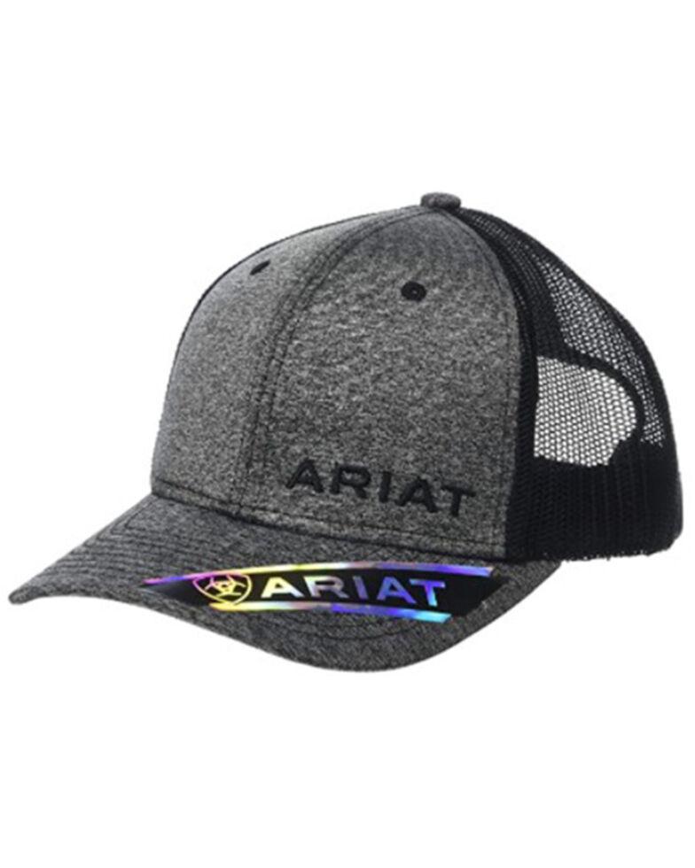 Ariat Men's Heather Grey & Black Offset Logo Mesh-Back Ball Cap , Heather Grey, hi-res