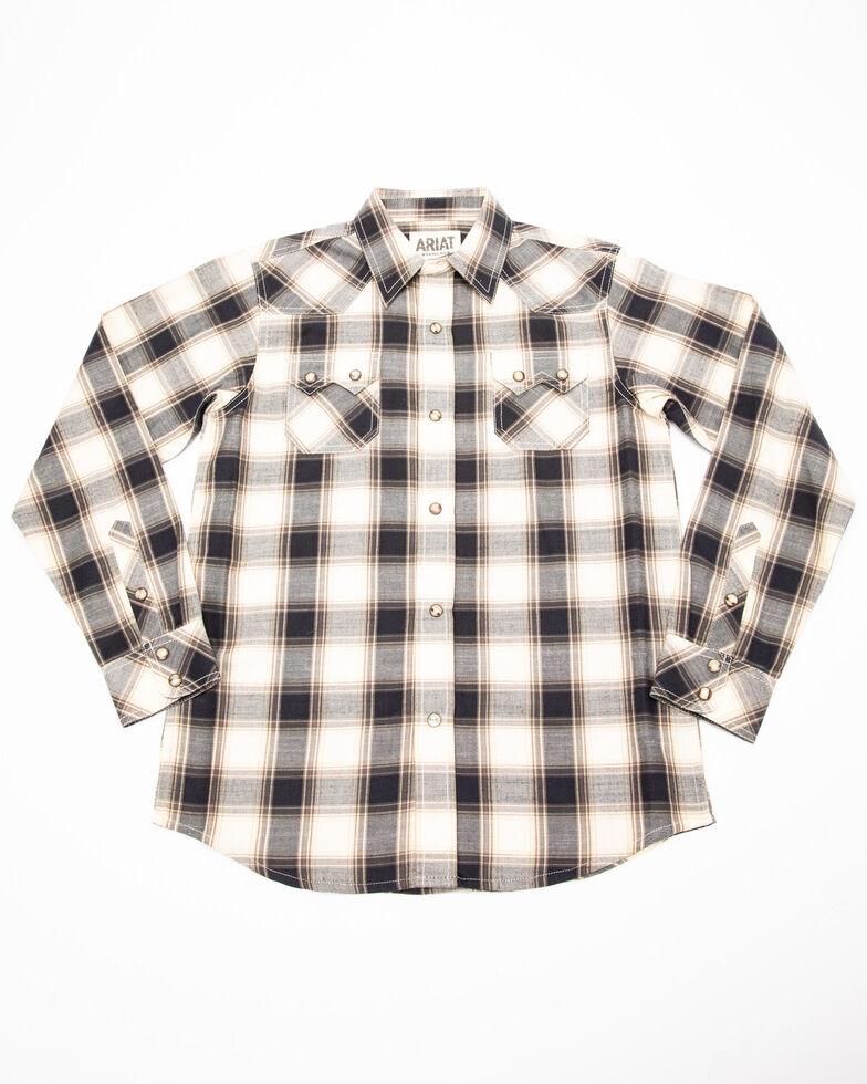 Ariat Boys' Kaiser Retro Plaid Long Sleeve Western Shirt , Multi, hi-res