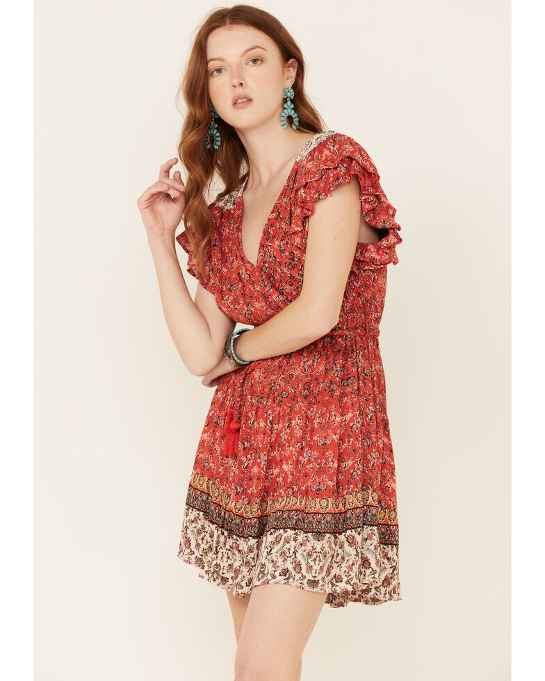 Angie Women's Ruffle Sleeve Tiered Dress, Red, hi-res