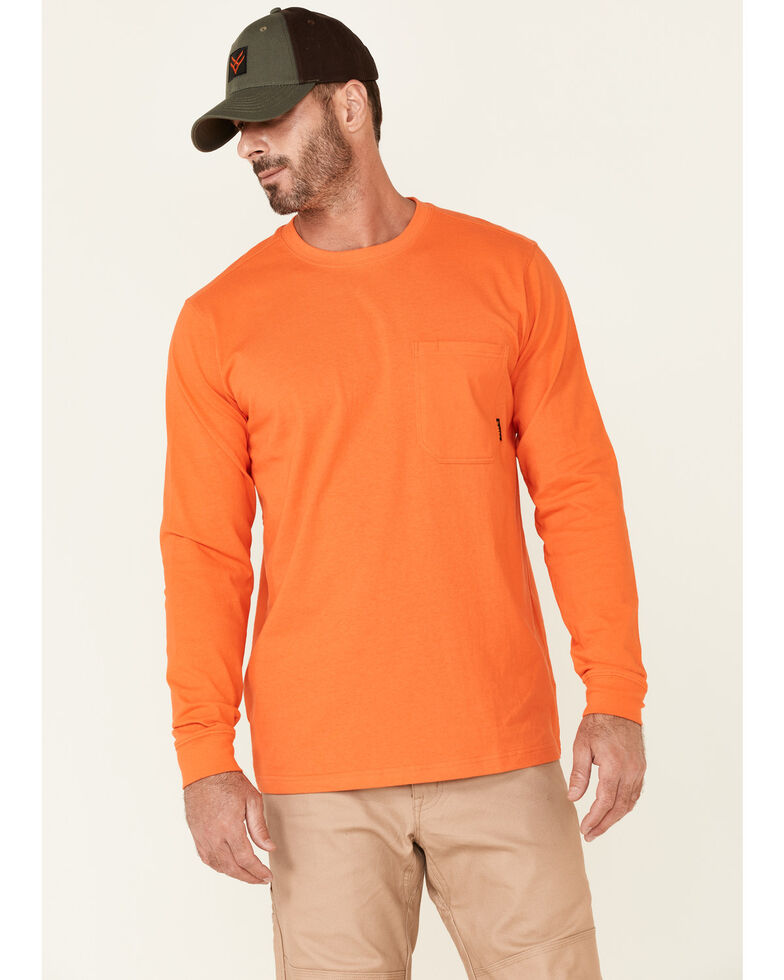 Hawx Men's Solid Orange Forge Long Sleeve Work Pocket T-Shirt , Orange, hi-res