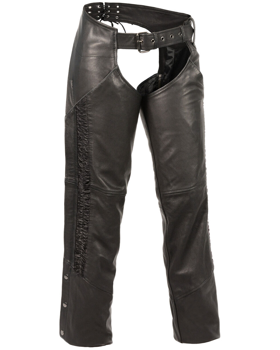 Milwaukee Leather Women's Crinkled Leg Striping Chaps , Black, hi-res