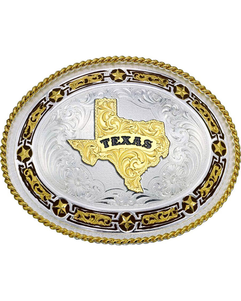 Montana Silversmiths Star Links State of Texas Western Belt Buckle, Multi, hi-res