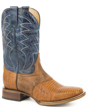 Roper Men's Tan Deadwood Lizard Teju Boots - Square Toe , Tan, hi-res