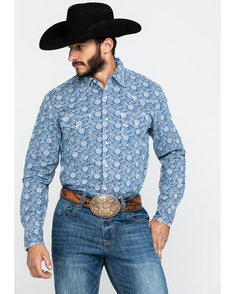 Wrangler 20X Men's Advanced Comfort Navy Paisley Print Long Sleeve Western Shirt , Navy, hi-res