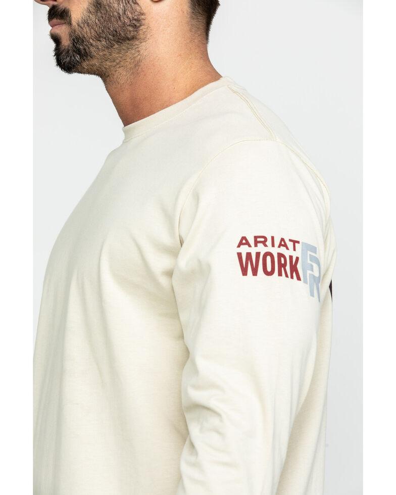 Ariat Men's Sand FR Freedom Eagle Graphic Long Sleeve Work T-Shirt , Sand, hi-res