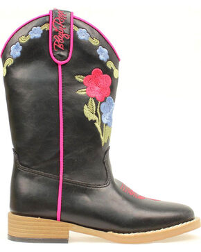 Blazin Roxx Girls' Youth Juniper Bold Flower Embroidered Boots, Black, hi-res