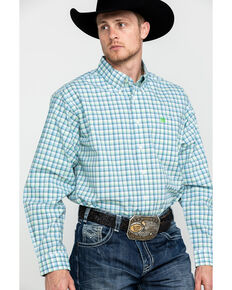 Cinch Men's Cream Med Plaid Long Sleeve Western Shirt , Cream, hi-res