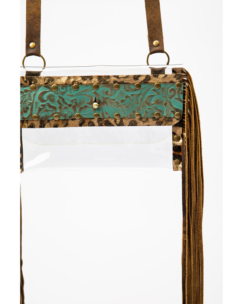 Keep It Gypsy Women's Stadium Leopard Cowhide Gold Bag, Turquoise, hi-res