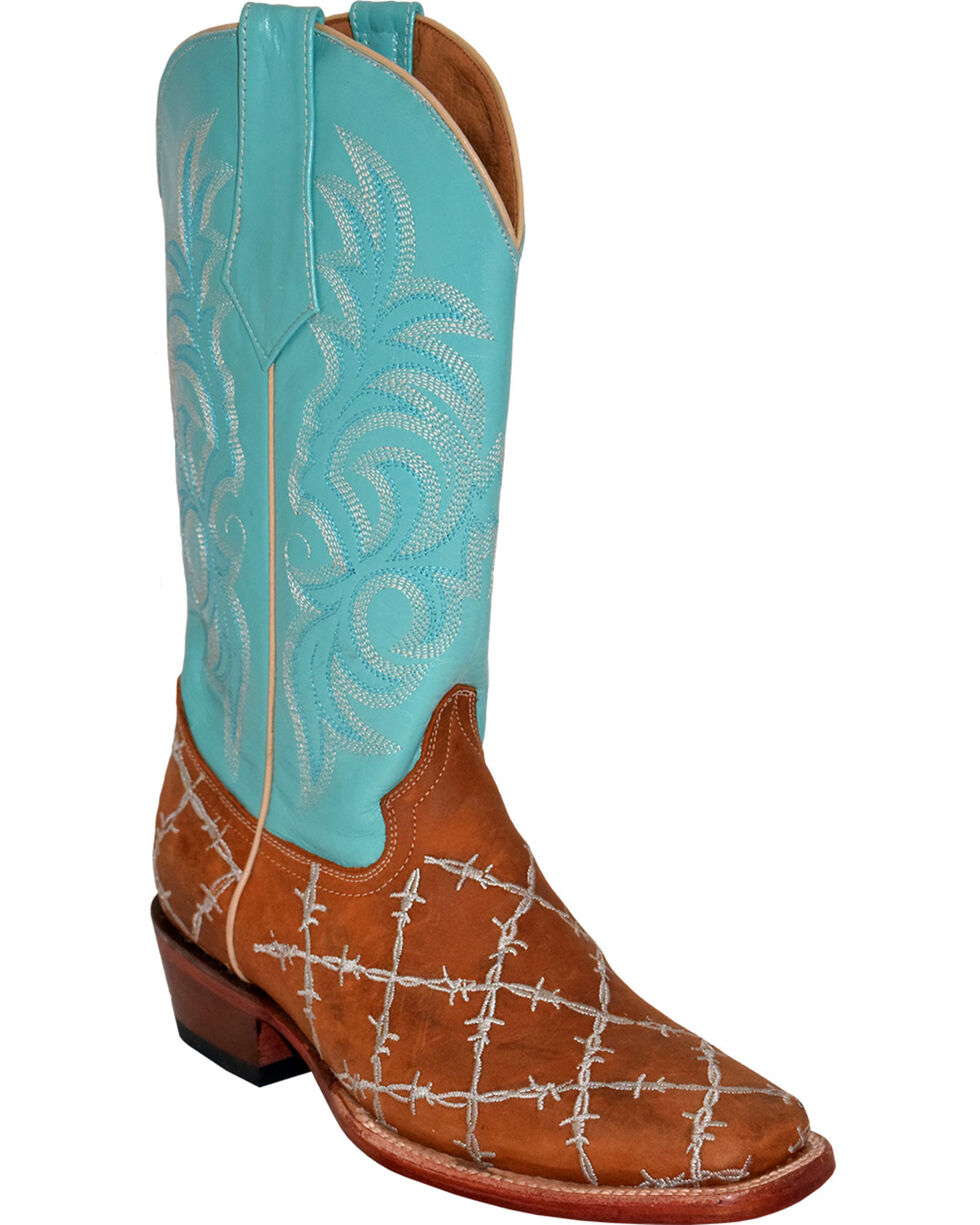 Ferrini Women's Barbed Wire Western Boots - Square Toe, Brown, hi-res