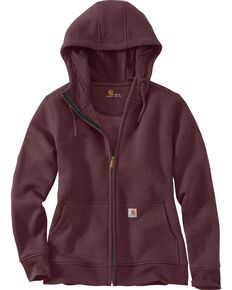 Carhartt Women's Clarksburg Full-Zip Hooded Sweatshirt  , Medium Brown, hi-res