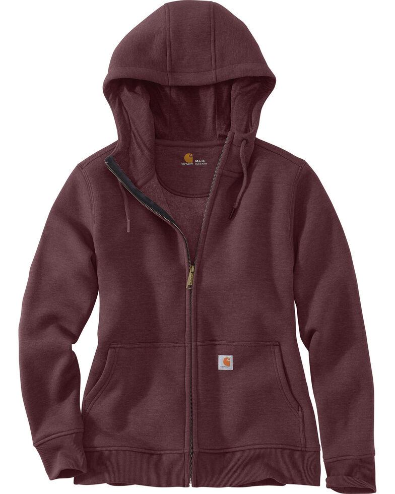 Carhartt Women's Clarksburg Full-Zip Hooded Sweatshirt  , Wine, hi-res