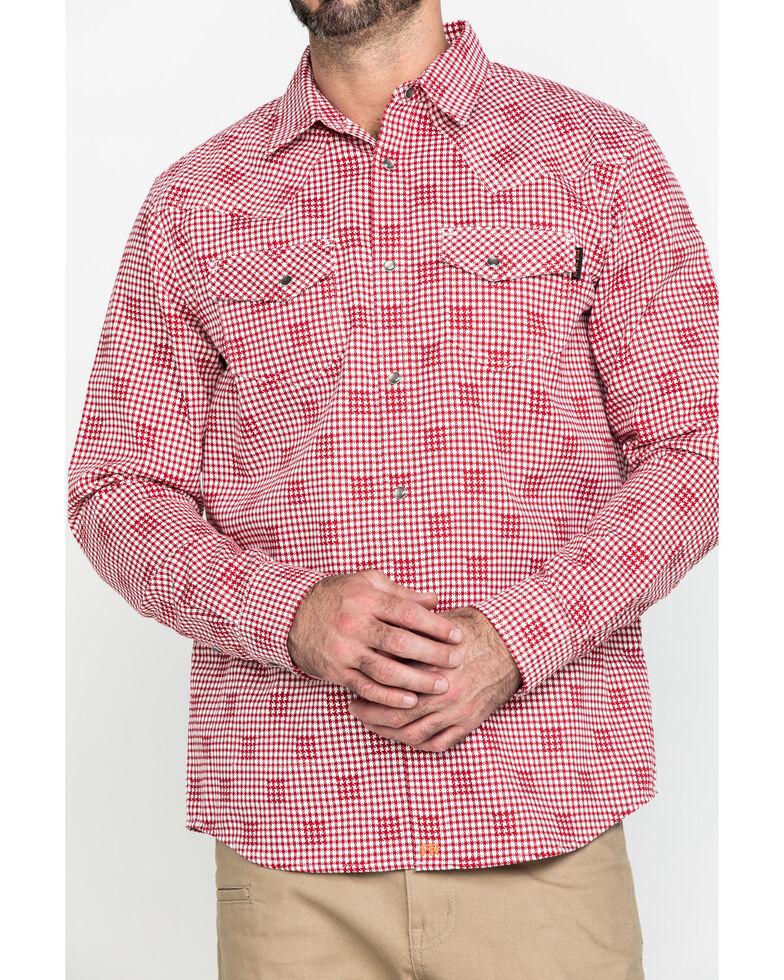 Cody James Men's FR Geo Print Long Sleeve Work Shirt , Red, hi-res