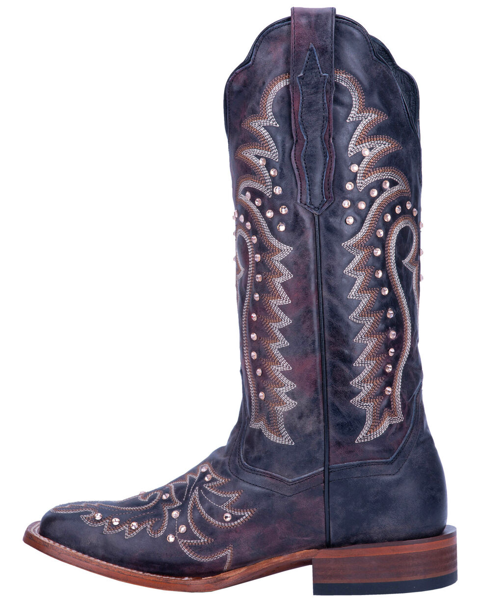 Dan Post Women's Shine On Western Boots - Wide Square Toe, Brown, hi-res