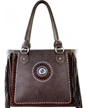 Montana West Coffee Fringe Collection Braided Lacing Satchel, Brown, hi-res