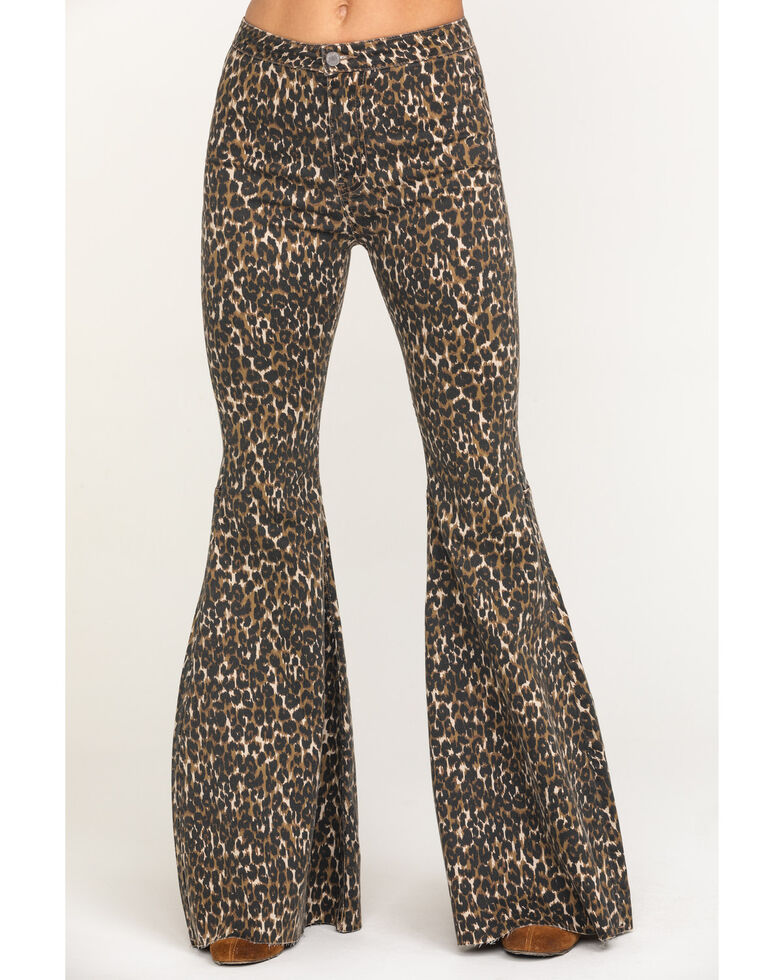 By Together Women's Leopard Extra Flare Pants, Multi, hi-res