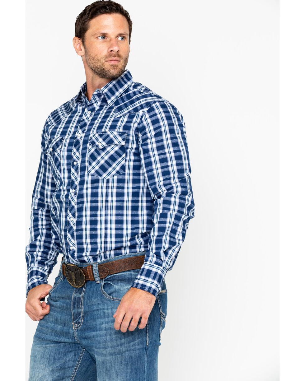 Wrangler Men's Navy Plaid Snap Long Sleeve Western Shirt, Navy, hi-res