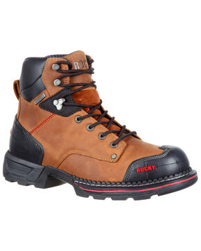 "Rocky Men's Maxx Waterproof 6"" Work Boots - Safety Toe, Russett, hi-res"