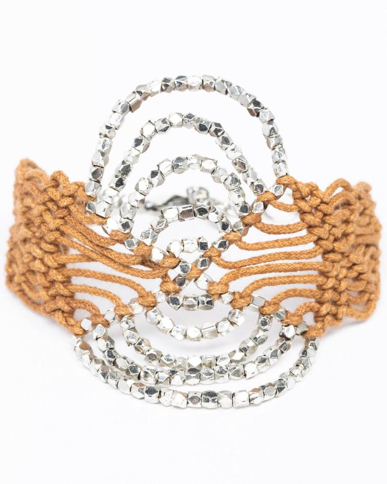 Shyanne Women's Chloe Silver Beaded Macrame Mix Bracelet, Brown, hi-res