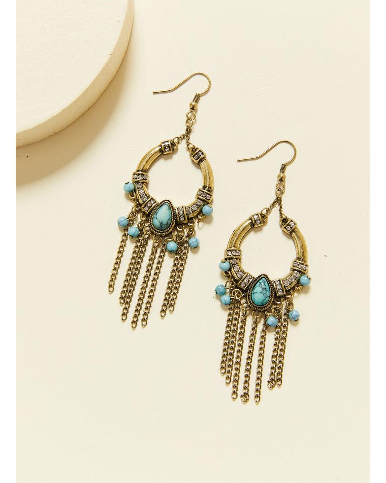Shyanne Women's Summer Nights Bronze Crescent Fringe Earrings, Bronze, hi-res