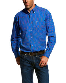 Ariat Men's Ohlinger Geo Print Long Sleeve Western Shirt , Blue, hi-res