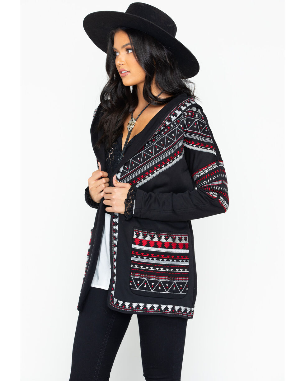Tasha Polizzi Women's Aurora Aztec Embroidered Open Hoodie, Black, hi-res