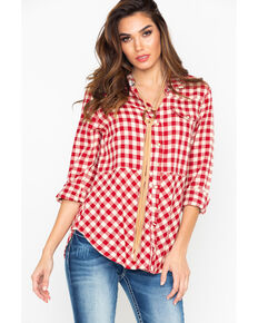 Tasha Polizzi Women's Plaid Long Sleeve Rodeo Shirt, Red, hi-res