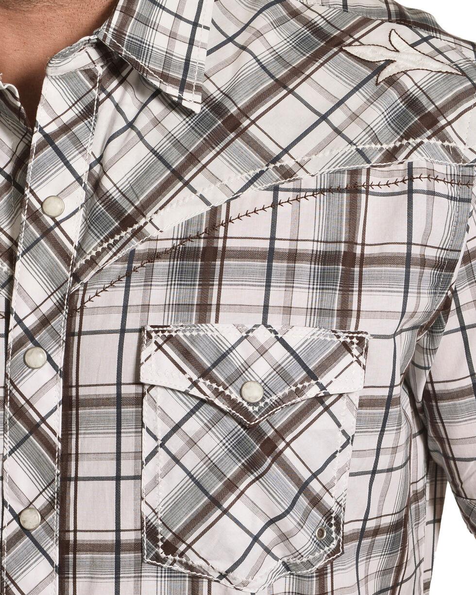 Wrangler Rock 47 Men's Brown Short Sleeve Plaid Shirt , Brown, hi-res