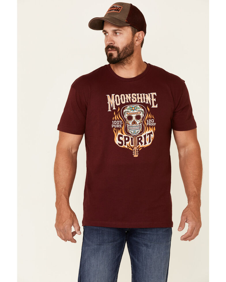 Moonshine Spirit Men's Maroon Guitar Fire Graphic Short Sleeve T-Shirt , Maroon, hi-res
