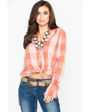 Shyanne Women's Blush Plaid Linen Tie Up Long Sleeve Western Shirt , Blush, hi-res