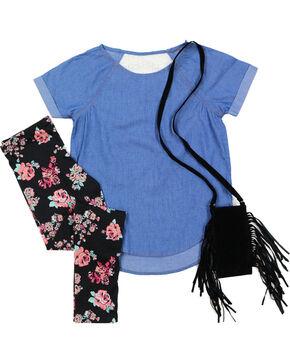 Self Esteem Girls' Denim Shirt, Floral Leggings and Fringe Bag Set, Dark Blue, hi-res