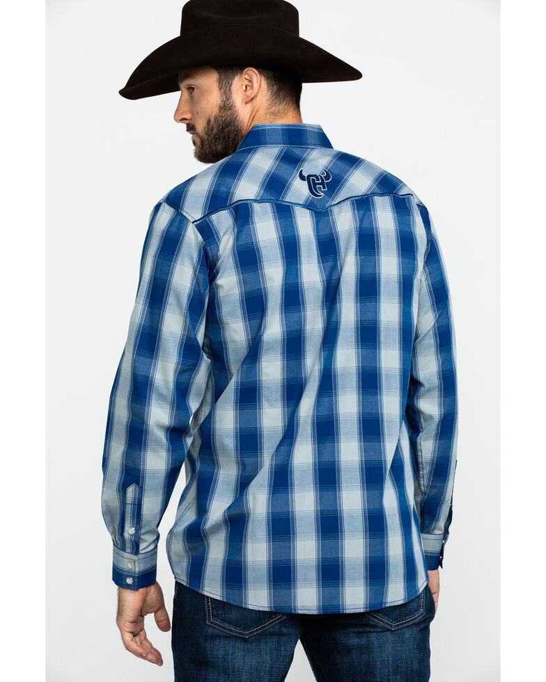 Cowboy Hardware Men's Royal Classic Plaid Long Sleeve Western Shirt , Royal Blue, hi-res
