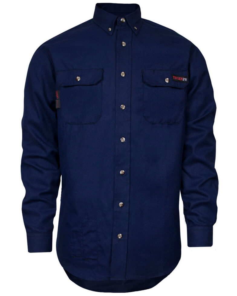 Tecgan Men's Navy Solid FR Long Sleeve Work Shirt - Big , Navy, hi-res
