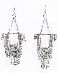 Shyanne Women's Chloe Silver Fancy Chain Chandelier Earrings, Silver, hi-res