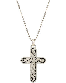 Montana Silversmiths Men's Western LeatherCut Cross Necklace, Silver, hi-res