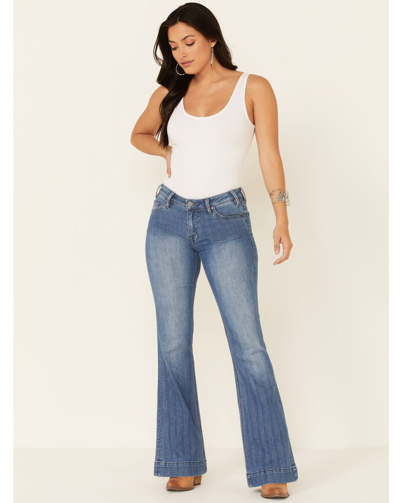 Rock & Roll Denim Women's Medium Wash Herringbone Stripe Mid-Rise Trouser Jean, Blue, hi-res
