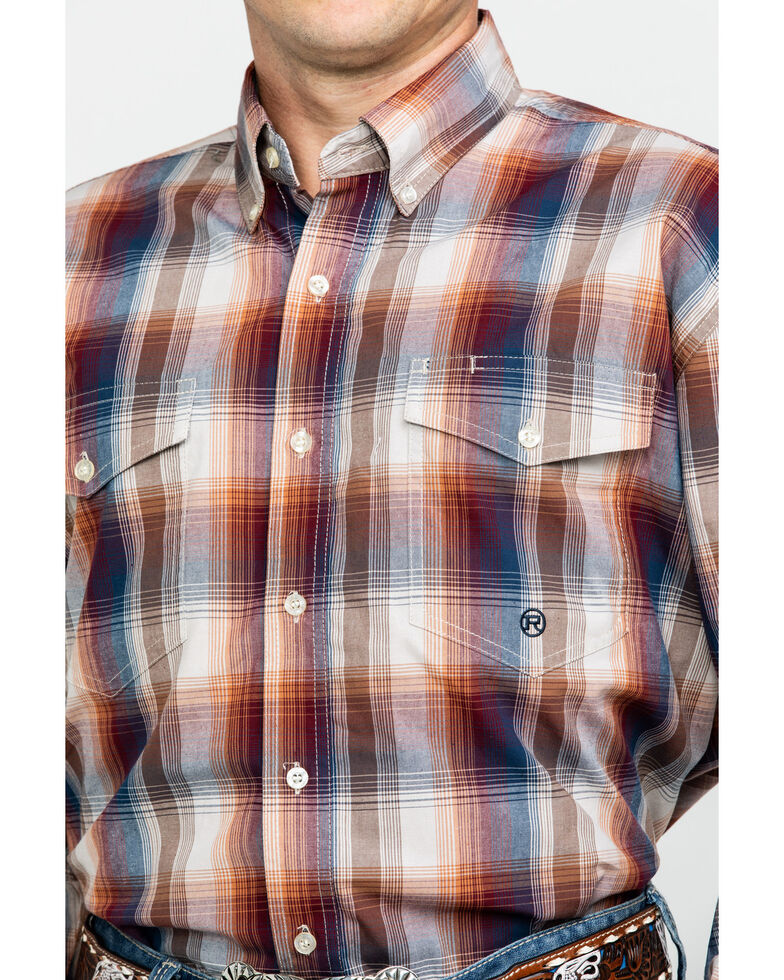 Roper Men's Amarillo Blanket Ombre Plaid Long Sleeve Western Shirt , Brown, hi-res