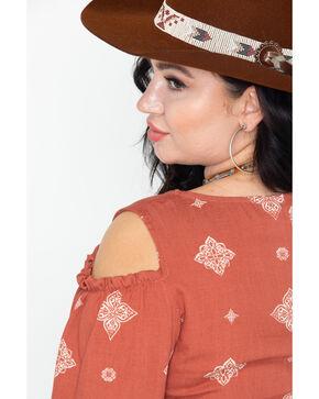 Vision Women's Spaced Out Tile Print Cold Shoulder Tie Sleeve Top - Plus, Rust Copper, hi-res