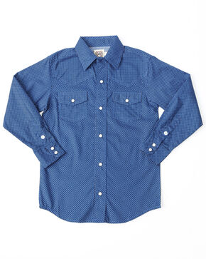 Cinch Boys' Print Snap Long Sleeve Western Shirt , Blue, hi-res
