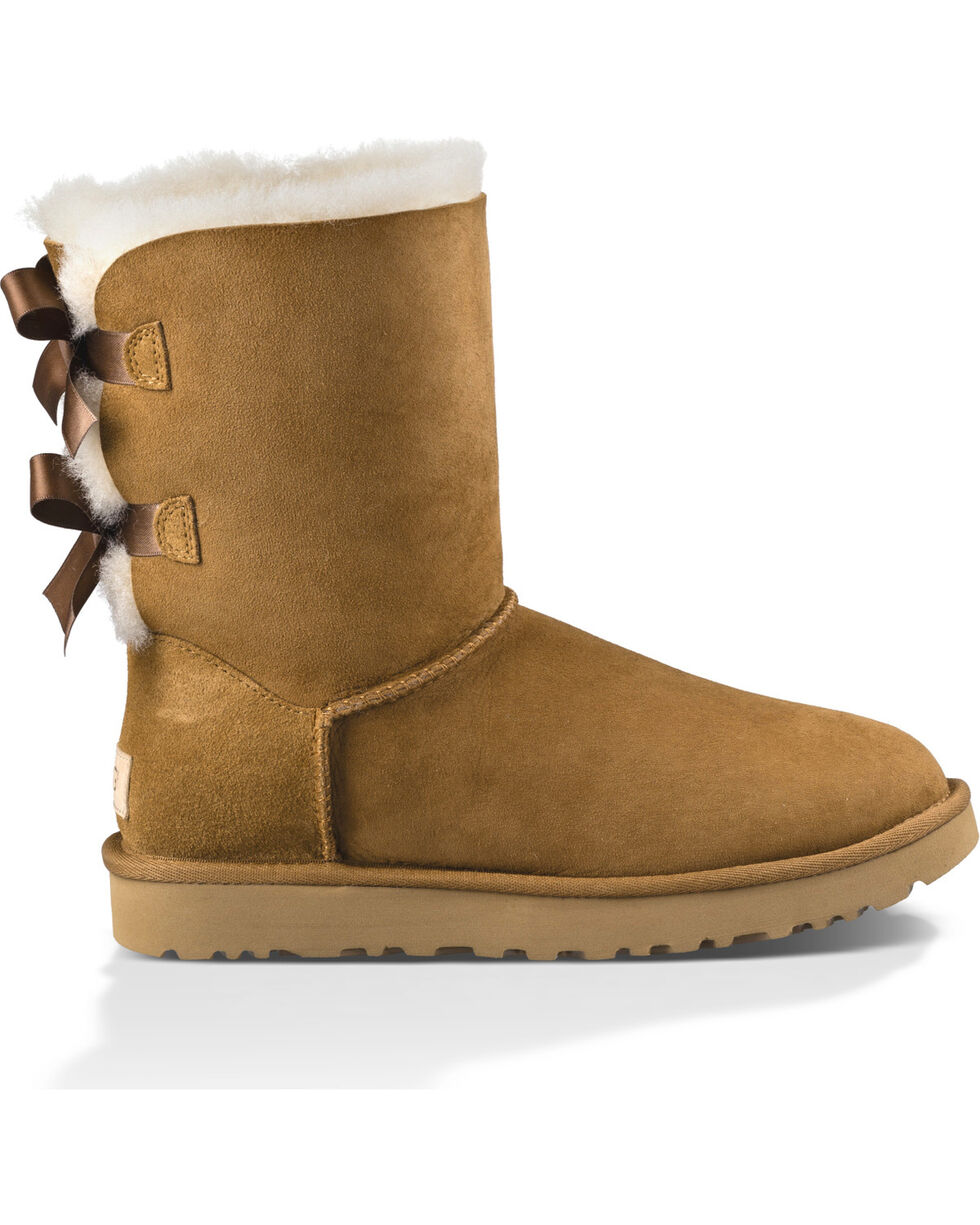 UGG Women's Chestnut Bailey Bow II Boots - Round Toe , Brown, hi-res