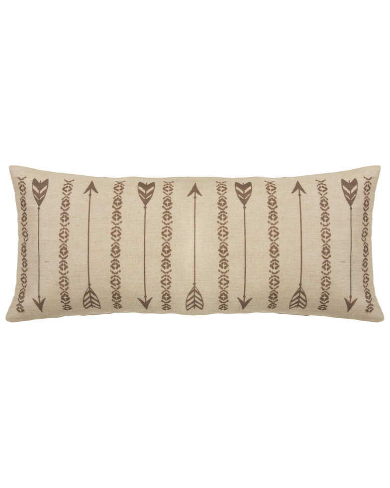 HiEnd Accents Long Rectangles And Arrows Burlap Pillow, Tan, hi-res