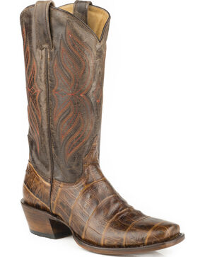 Roper Men's Faux Exotic Print Western Boots, Brown, hi-res