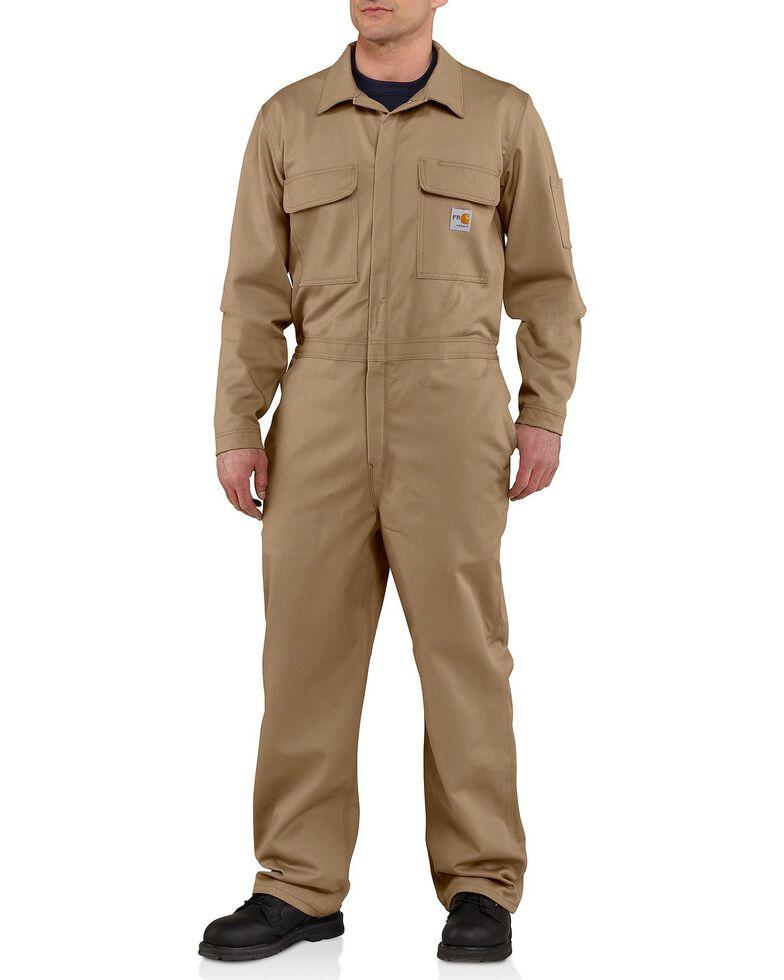 Carhartt Men's Flame Resistant Traditional Twill Coveralls, Khaki, hi-res