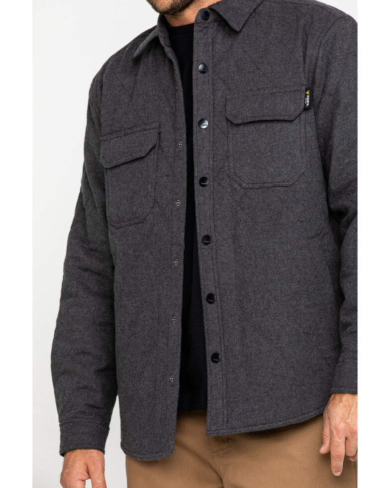 Hawx Men's Solid Grey Douglas Quilted Long Sleeve Shirt Work Jacket , Charcoal, hi-res