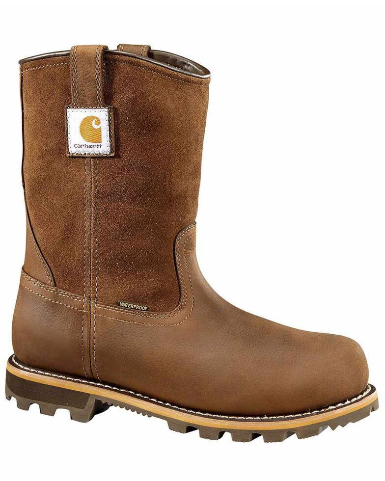 Carhartt Men's Waterproof Western Work Boots - Soft Toe, Chestnut, hi-res